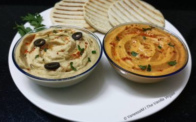 Hummus Platter ~ Roasted Bell Pepper Hummus & Simple Hummus